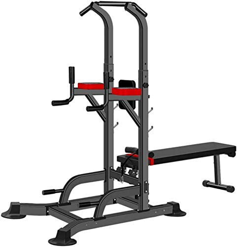 Cnley Multifuncional Fitness Dumbbell Bench Multifunction Pull Up Bar & Dip Station & Dumbbell Banco Combo, Dip Station Pull Up Bar Power Tower Fuerza Entrenamiento con el banco de mancuernas, conveni