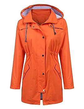 LOMON Raincoat Women Waterproof Long Hooded Trench Coats Lined Windbreaker Travel Jacket Orange S