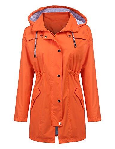 LOMON Raincoat Women Waterproof Long Hooded Trench Coats Lined Windbreaker Travel Jacket Orange XL