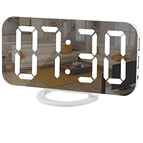 Digital Clock Large Display, LED Electric Alarm Clock Mirror Surface for Makeup with Diming Mode, 3 Levels Brightness, Dual USB Ports Modern Decoration for Home Bedroom Decor(White)