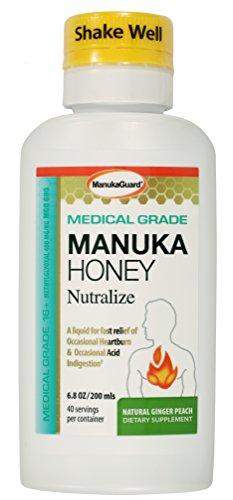 ManukaGuard Medical Grade Manuka Honey Nutralize, Heartburn and Acid Indigestion Relief, Ginger Peach, 6.8 Ounces