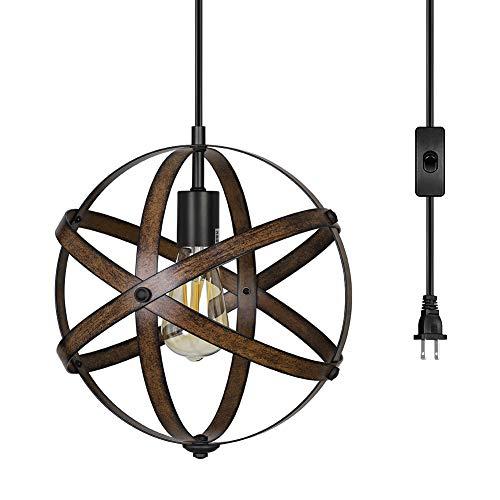 DEWENWILS Plug in Pendant Hanging Light, Wood Grain Industrial Style