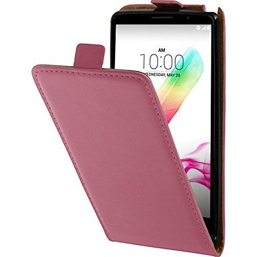 PhoneNatic Kunst-Lederhülle kompatibel mit LG G4 Stylus - Flip-Hülle pink + 2 Schutzfolien