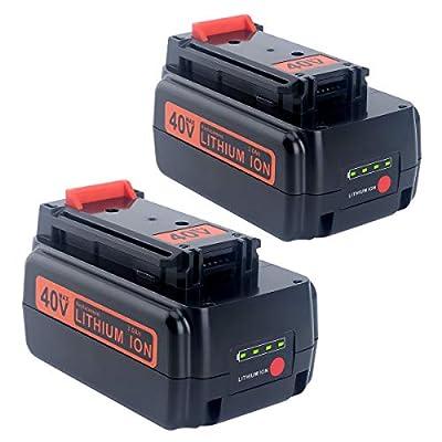 Lasica 2-Pack 3.0Ah 40V MAX Lithium Battery LBX2040 LBXR36 for BLACK+DECKER 36 Volt & 40 Volt MAX Cordless Tool LST136 LCS1240 LHT2240 LHT2436 LSW36 LCS40 LBXR2036 LBX1540 Black and Decker 40V Battery