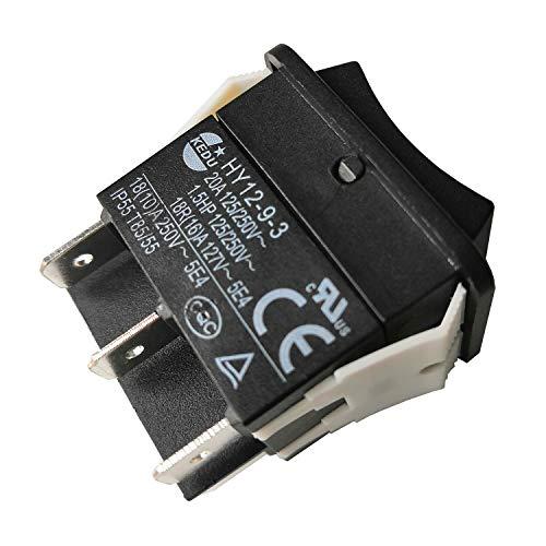Interruptores de Pulsador Eléctrico Industrial KEDU Gran Corriente On Off On Interruptor Basculante HY12-9-3 1.5HP 6Pins Tab 20A 125/250V, 2-Pack