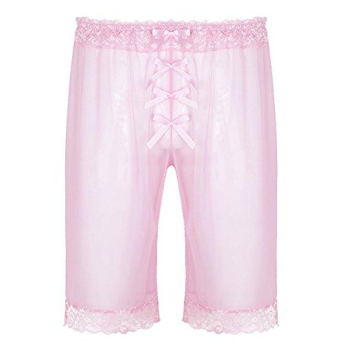 iEFiEL Boxershorts aus Spitzen Unterhosen für Männer Transparent Boxer Unterwäsche für Herren Boxershort Rosa Medium