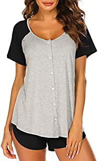 Image of Comfortable Relaxing Button Grey Womens Short Pajama Set - See More Colors