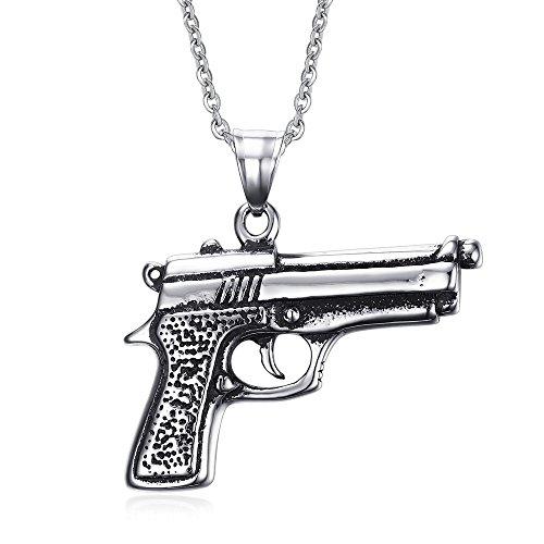 CARTER PAUL Collar Pendiente de Armas de Acero Inoxidable Pistola Hombres