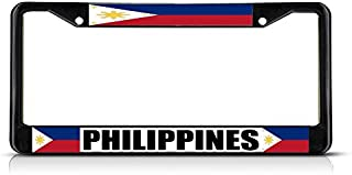 Yilooom Philippine?S FILIPINAS Flag Black Chrome Metal License Plate Frame Car Tag Holder Auto Gift Auto Car Novelty Accessories License Plate Art 6 x 12 inches