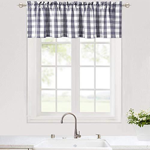 "Haperlare Grey Plaid Valance for Bathroom, Buffalo Check GinghamValance Curtains for Windows, Thick Yarn Dyed Rod Pocket Farmhouse Kitchen Valance Curtain Cafe Curtains, 56"" x 15"", Grey/White"