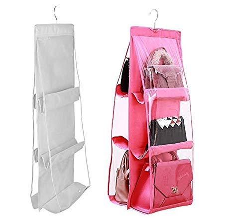 Turbo Snail Hanging Handbag Organizer Dust-Proof Storage Holder Bag Wardrobe Closet for Purse Clutch with 6 Larger Pockets Pink