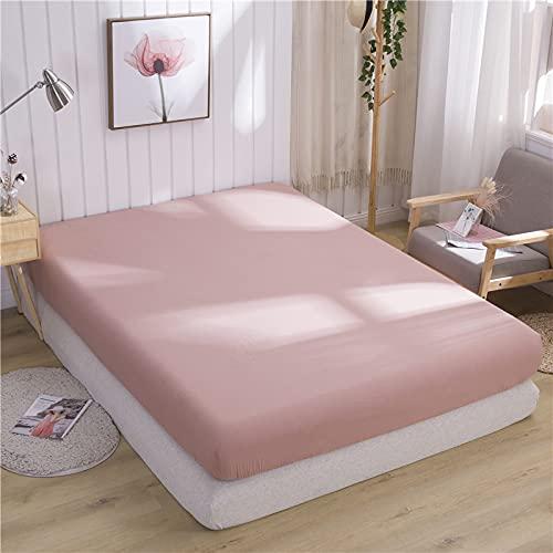 HAIBA Página de inicio Sábana bajera de algodón y funda de cama de color sólido Ropa de cama elástica suave dormitorio boda   sábana, 180x200x25cm