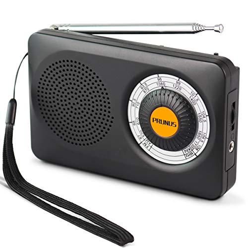PRUNUS J-115 Pequeña Radio Portátil, Am FM Radio Analógica de Bolsillo, Radio de Transistor a Batería con Auriculares, Antena Giratoria de 360 °, 2 Pilas AA (No Incluidas)