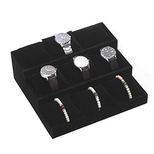 BOCAR Velvet Bracelet Bangle Watch Display Showcase Organizer Holder with 12 Pillow (12ZT-dark grey)
