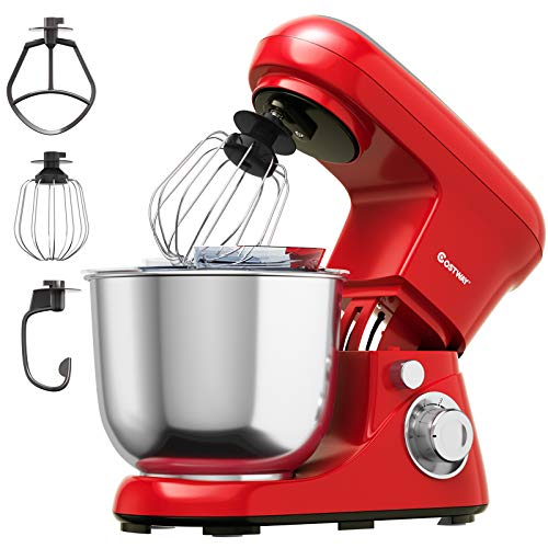 COSTWAY Stand Mixer, 6-Speed Tilt-Head Stand Mixer, 500W, Kitchen Electric Mixer with Dough Hook, Beater, Whisk, 5.3 Quart Stainless Steel Mixing Bowl and Splash Guard (Red)