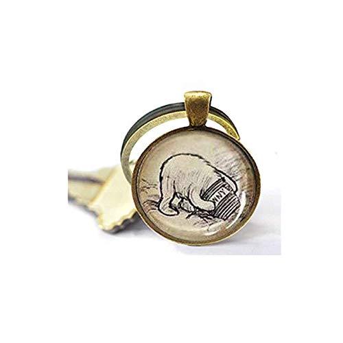 His Honey Pot Halskette Silber oder Bronze Vintage Pooh Schlüsselanhänger Bibelzitat Anhänger – Christlicher Schlüsselanhänger