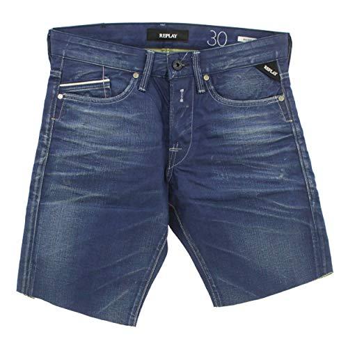 Replay, Waitom Shorts, Herren Herren Kurze Jeans Shorts Bermudas Coated Denim Blue Coated W 29 [22113]
