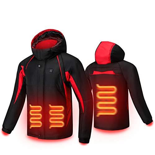 Chaqueta con capucha con calefacción eléctrica, ajuste de tres velocidades USB de temperatura, hasta 65°, adecuado para ropa de algodón caliente y frío al aire libre en invierno, color negro, M