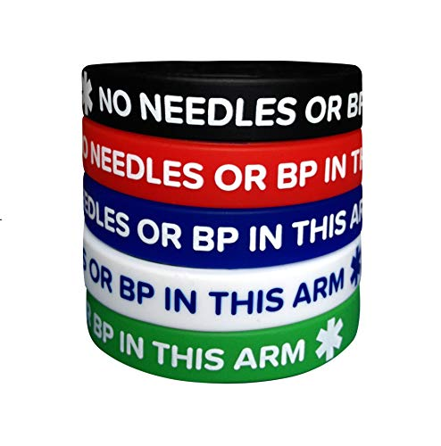 Lymphedema Silicone Bracelets NO Needles OR BP This ARM (5 Pack) Wristbands Adult Size for Men Women 7.8