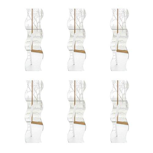 FLAMEER 12 Paquetes De Pegatinas De Pared De Espejo Ondulado 3D Sofá TV Ajuste Decoración De Pared Decoración Calcomanía
