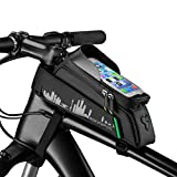 ROCKBROS Bike Phone Bag Mount,Top Tube Bike Bag Fingerprint ID Compatible with iPhone X XS 7 8 Plus Galaxy S9 Note7, Bicycle Frame Bag Large Accessories 6.5 in (with Rain Cover)