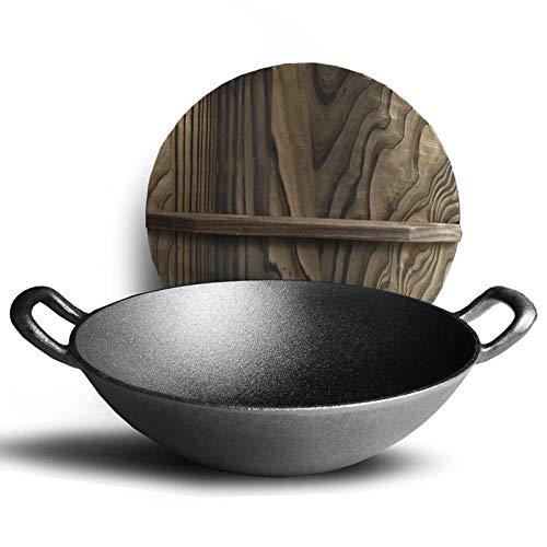 XHDY koekenpan van verdikte gietijzer zonder olierook en antiaanbaklaag binaurale pan met bodem voor het huishouden, vintage