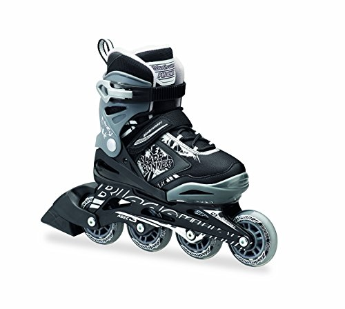 Bladerunner by Rollerblade Phoenix Boys Adjustable Fitness Inline Skate, Black and Silver, Junior, Value Performance Inline Skates, Black/Silver Flash, 11 J to 1 Adjustable