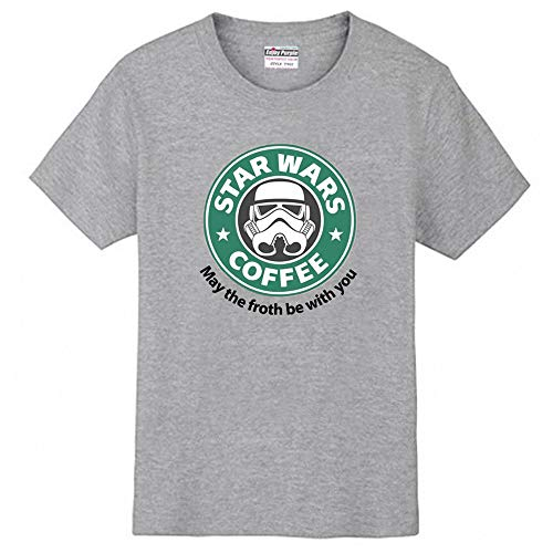 〔ELEEJE〕 スタウォーズ スターバックス コラボ Tシャツ STAR WARS COFFEE STAR BUCKS おもしろ パロディ 〔めいめい屋オリジナル〕 (XL, グレー)