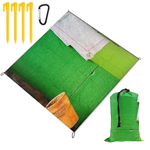 FLDONG Tapete portátil de picnic impermeable para picnic al aire libre, tapete de playa impermeable y resistente a la arena, jarrón toalla y pared verde