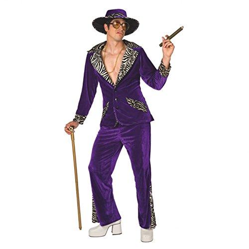 Morph Lila Zuhälter Kostüm für Herren, Pimp Verkleidung Erwachsene, Junggesellenabschied, Karneval, Halloween, Party - L (107-112 cm Brustumfangumfang)