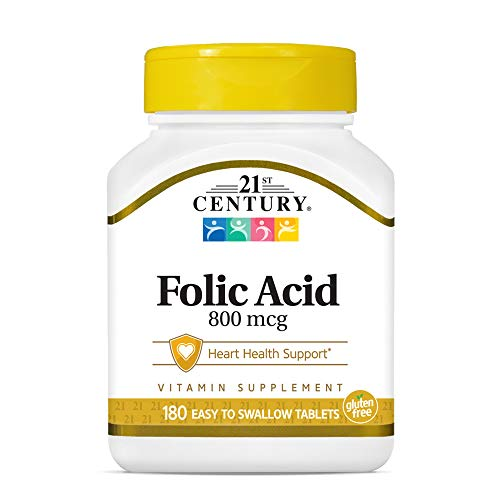 21st Century 800 mcg Folic Acid Tablets, Assorted, 180 Count