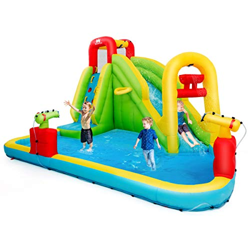 COSTWAY Inflatable Bouncy Castle, Jumper House Water Pool Slide Activity Center with Water Slide, Climbing Wall, Water Gun and Pool Area for Kids (Blue Slide)