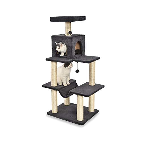 Amazon Basics – Kleiner Katzen-Kratzbaum mit Haus und Hängematte, 156 x 130 x 91 cm, dunkelgrau