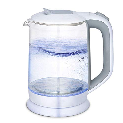 Qinmo Kettle, bouilloire électrique de verre de 1,8l, bouilloire d'eau écologique de 1500W avec LED lumineuse, chaudière à eau sans fil sans fil BPA avec couvercle intérieur et bas en acier inoxydable
