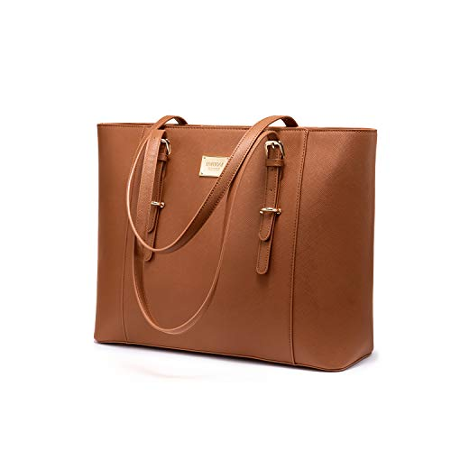 LOVEVOOK Laptop Handtasche Damen 15.6 Zoll Braun, Groß Elegant Business Laptoptasche Aktentasche Arbeitstasche Shopper Bag, PU Leder, für Büro Hochschule Reisen