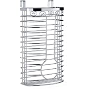 Sagler Grocery Bag Holder - Chrome Plastic Bag Holder - Easy-Access Openings Multi Position use Either Over The Cabinet Kitchen Storage Holder or Wall Mount
