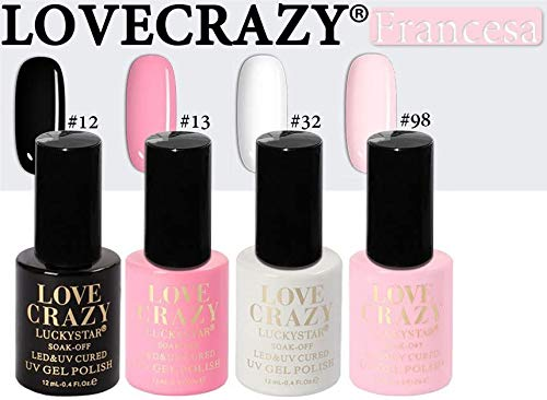 LOVECRAZY® Series Esmaltes de Uñas en Gel Permanente/Semipermanente para Manicura y Pedicura, 4 Esmaltes de Colores,Top Coat y Base Coat UV LED (12,13,32,98)