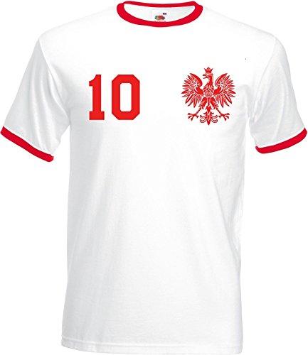 WM Polska Polen Herren T-Shirt Beidseitig Bedruckt mit Wunschname & Zahl, Weiß, Gr. L