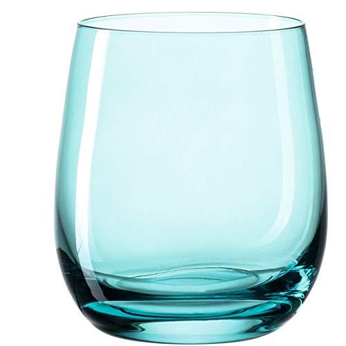 Leonardo Sora Wasser-Gläser 6er Set, spülmaschinengeeignete Saft-Gläser, bunte Trink-Becher aus Glas, modernes Getränke-Set, Türkis 360 ml, 018197