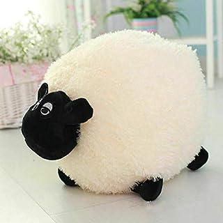 Adoture Cojín de oveja suave y esponjoso para bebé y niños, juguete de peluche, sofá, cojín de hogar, Blanco, L(40cm)