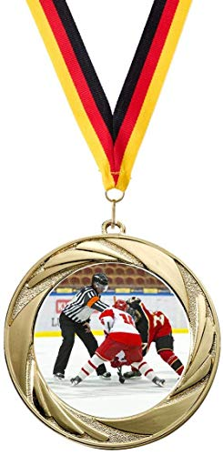 Verlag Reiner Kullack 10er-Set Medaillen »Eishockey«, mit 50 mm Sportfoto-Emblem (Metall, bunt)