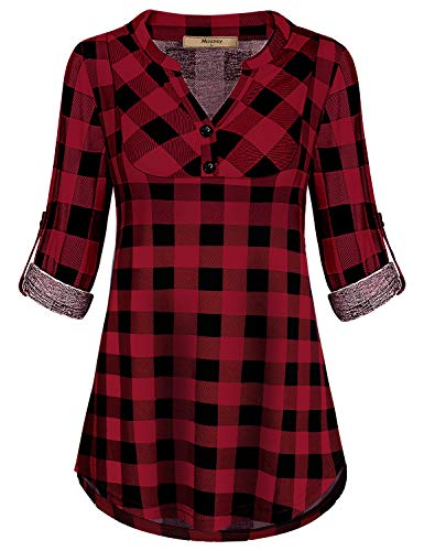 Miusey Mandarin Collar, Ladies Emellished Tops for Women Flowy Loose Fit Notch V Neck Petite 3/4 Cuffed Sleeve Simple Checked House Wear Pleated Novelty Clothes Red M