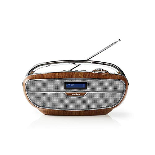 Nedis - Digital Radio DAB+ - 60 W - UKW - Bluetooth® - Retro-Design - Built-In Lithium-Ion - Integrierte Mikrofon - MicroSD Anschluss - USB-Anschluss - Braun/Silber