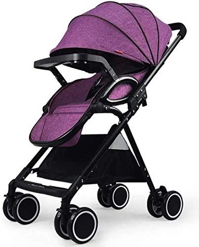 YONGYONGCHONG Wagen Kinderwagen Folding Buggy Leicht Infant kompakter Reise-Buggy, 5-Punkt-Gurt High Capacity Basket Dreirad (Color : Purple)