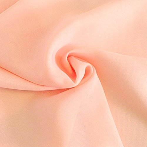 Solid Chiffon Fabric Polyester Dress Sheer 58'' Wide by The Yard All Colors (10 Yard, Peach)