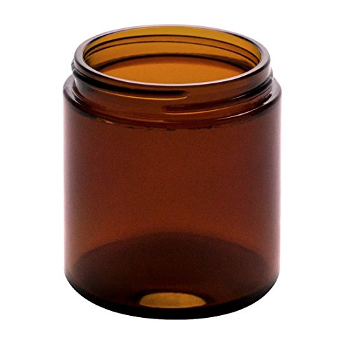 North Mountain Supply 4 Ounce Amber Glass Straight Sided Mason Canning Jars - with 58mm Lids - Case of 24 - Gold Metal Lids
