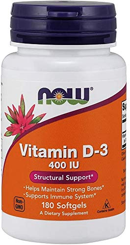 NOW Supplements, Vitamin D-3 400 IU, Strong Bones*, Structural Support*, 180 Softgels