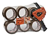 Brackit, Nastro da imballaggio marrone con dispenser, 48 mm x 66 m, confezione da 6 rotoli, nastro adesivo resistente per imballaggio, per uso regolare o traslochi