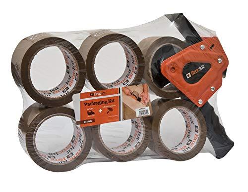 Brackit MT2259 - Nastro da imballaggio marrone con dispenser, 48 mm x 66 mm, confezione da 6 rotoli – robusto nastro da imballaggio per uso regolare o spostamento – Sigilla facilmente pacchi e scatole
