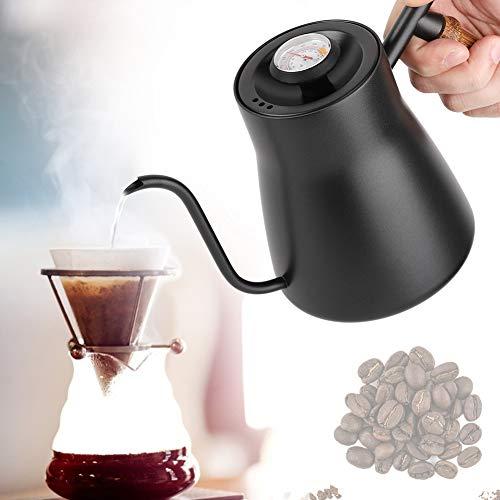 Gießen Sie über Kaffeekessel, Edelstahl Tropfenfänger über Kaffeekanne Schwanenhals Teekessel mit Thermometer und Holzgriff für Haushalt(Mit Thermometer)